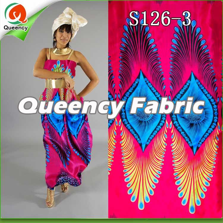 b18fd23174a This style African Wax Print Flower Satin Nigeria Style Silk Material