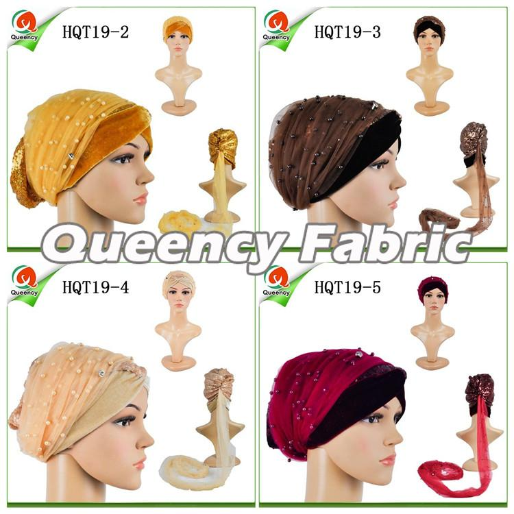 Velvet Beaded Net Turbans
