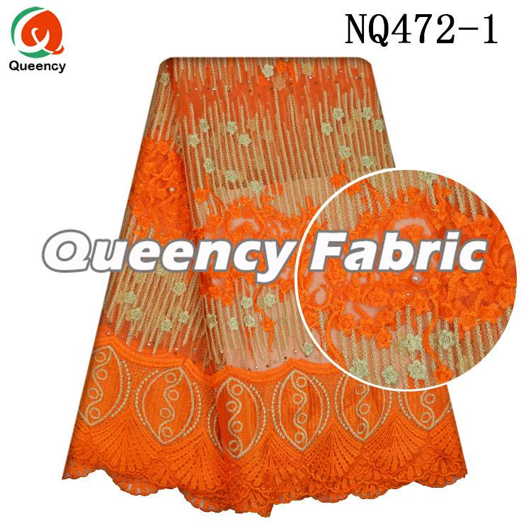 Orange Cotton French Fabric Lace