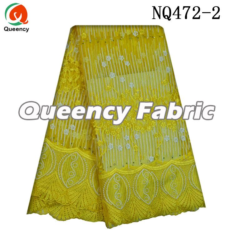 Yellow Netting French Lace Fabric