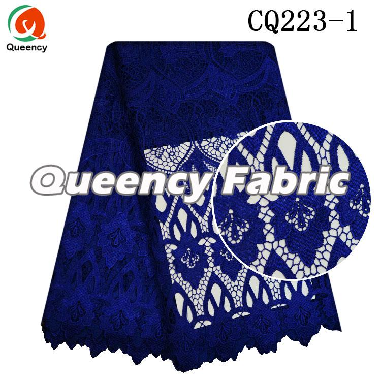 Royal Blue Handmake Guipure Plain Lace