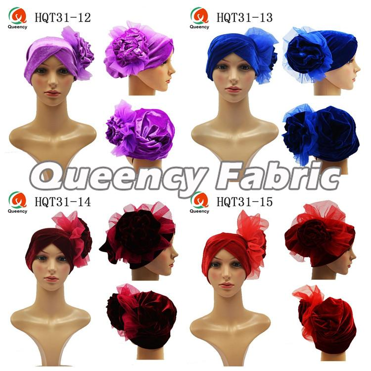 Nigeria Velvet Big Flower Turban Bonnet