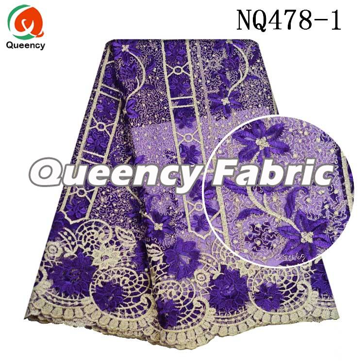 Purple Tulle Stones Lace Embroidery