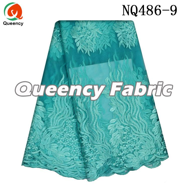 Aqua French Fabric Lace Embroidery