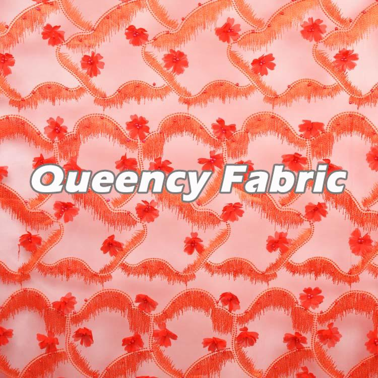 Embroidered Lace Tulle Fabric Design