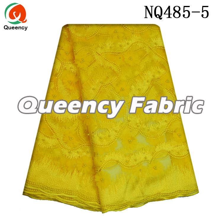 Yellow Embroidered Lace Tulle Fabric