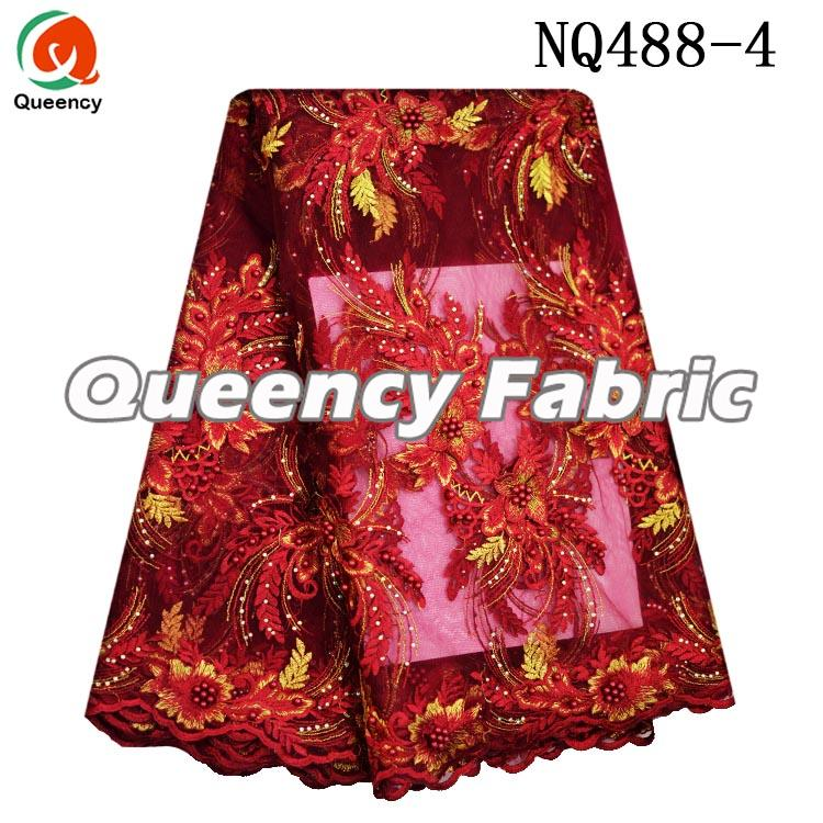 Red Embroidered Lace French Material