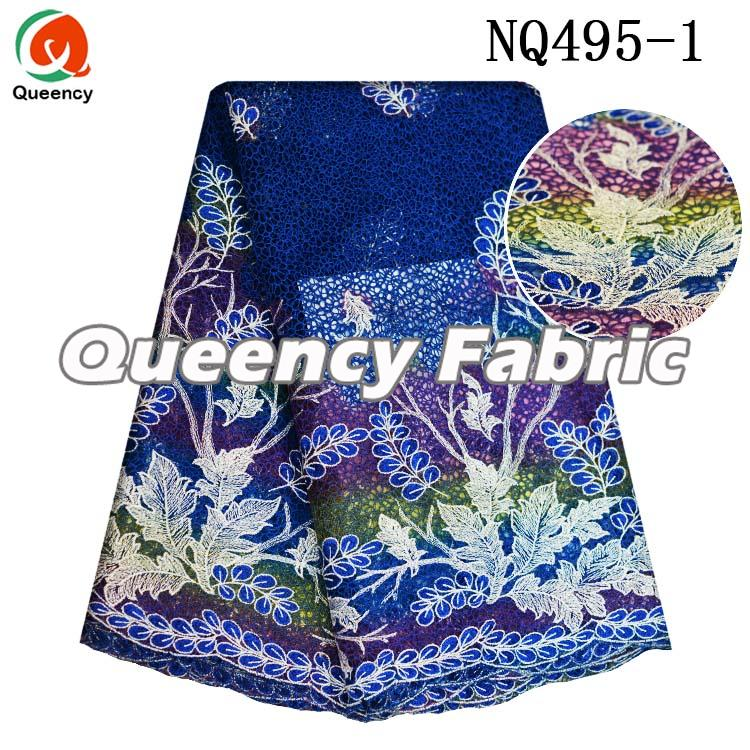 Heavy Lace Embroidery In Royal Blue