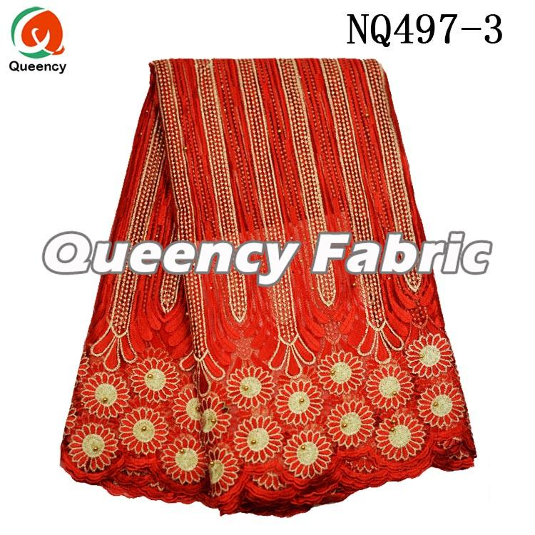 Red African French Fabric