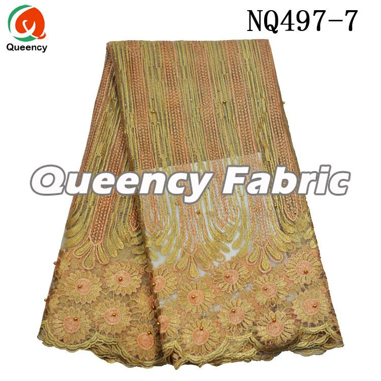 Gold Beaded Nigeria Lace Fabric