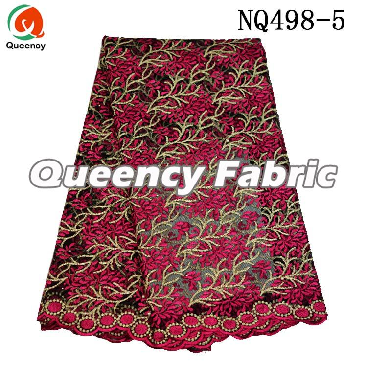 Fushia Beaded Nigeria Chantilly Lace