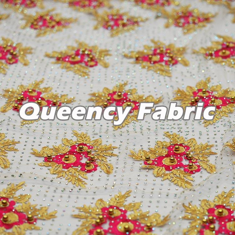 Floral Embroidered Tulle Fabric