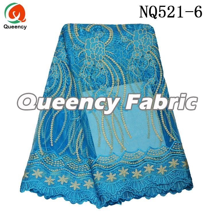 Turquoise Blue Lace Net Fabric