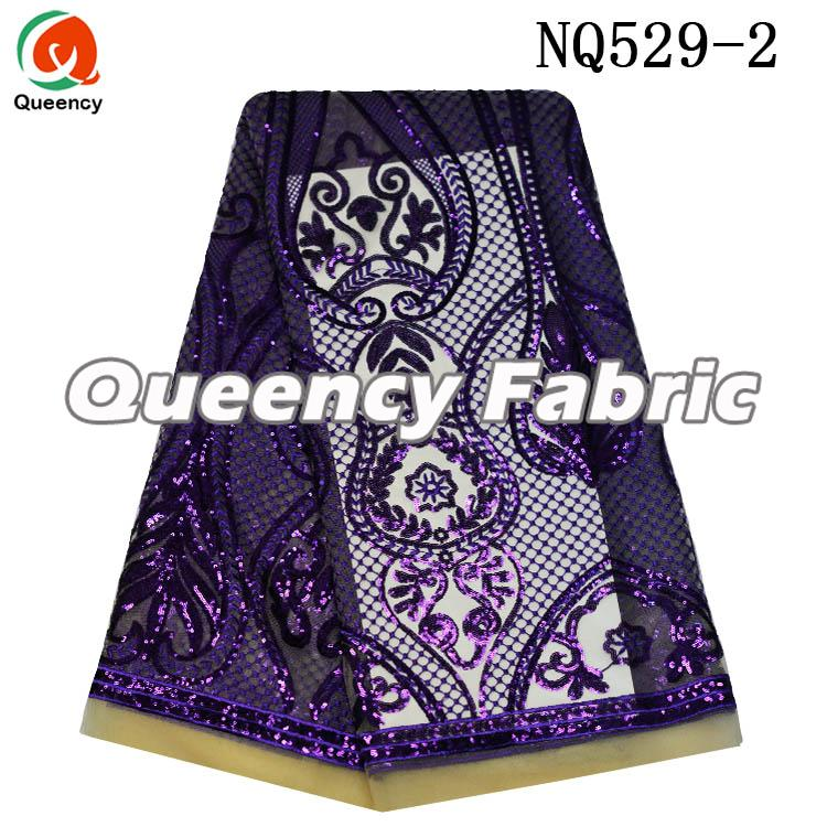 Purple Embroidered Lace Tulle Material