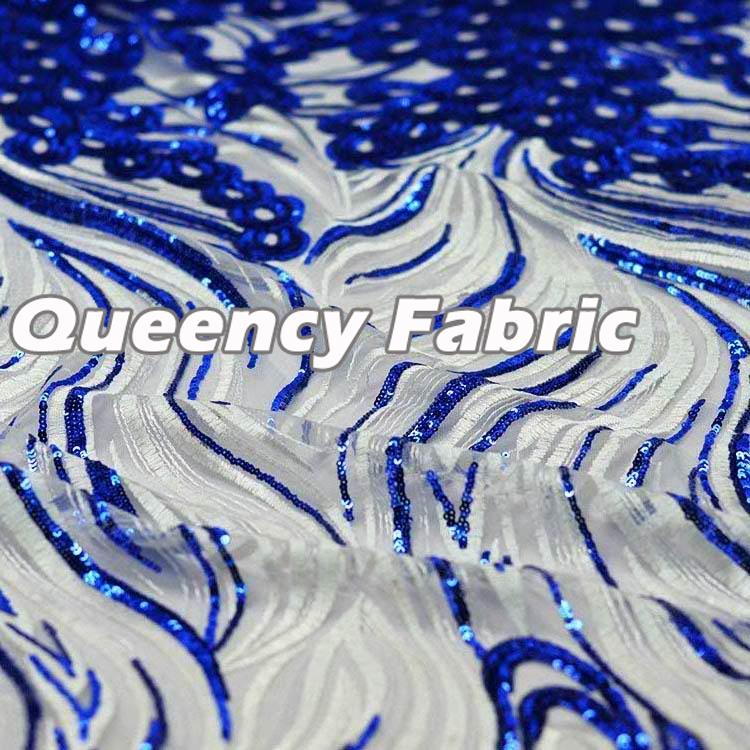 African French Lace Sequins In Royal Blue