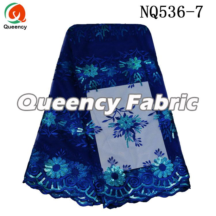 Royal Blue Lace Nigeria Tulle Material