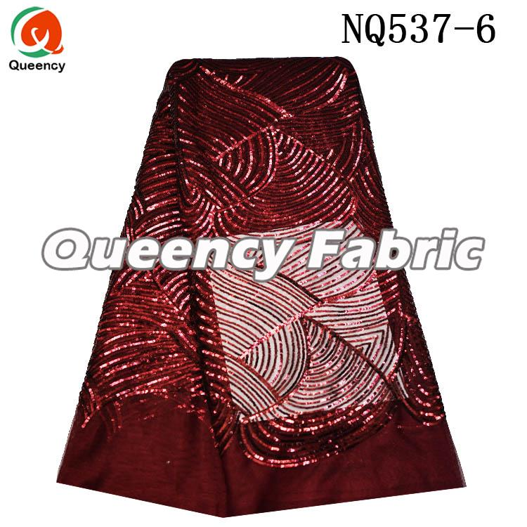 Sequins Net Fabric In Wine