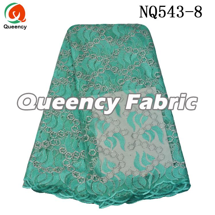 Aqua Lace Tulle Embroidered Material