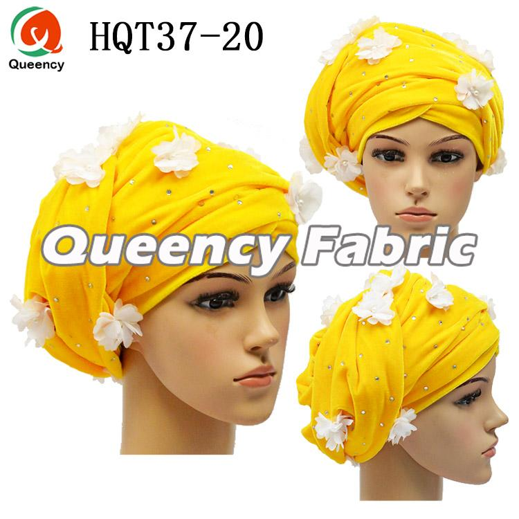 Yellow Beaded Applique Turban Hijab