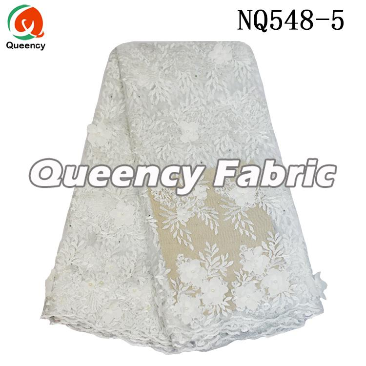 White Lace Wedding Tulle Embrodiered Fabric