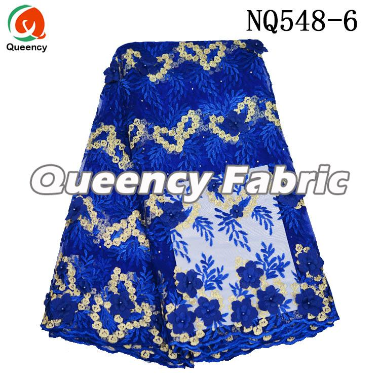 Royal Blue Net Embroidery