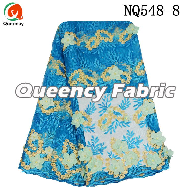 Turquoise Blue French Lace Fabric