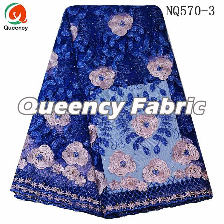 Royal Blue Net Embroidered Wedding Dresses Fabric