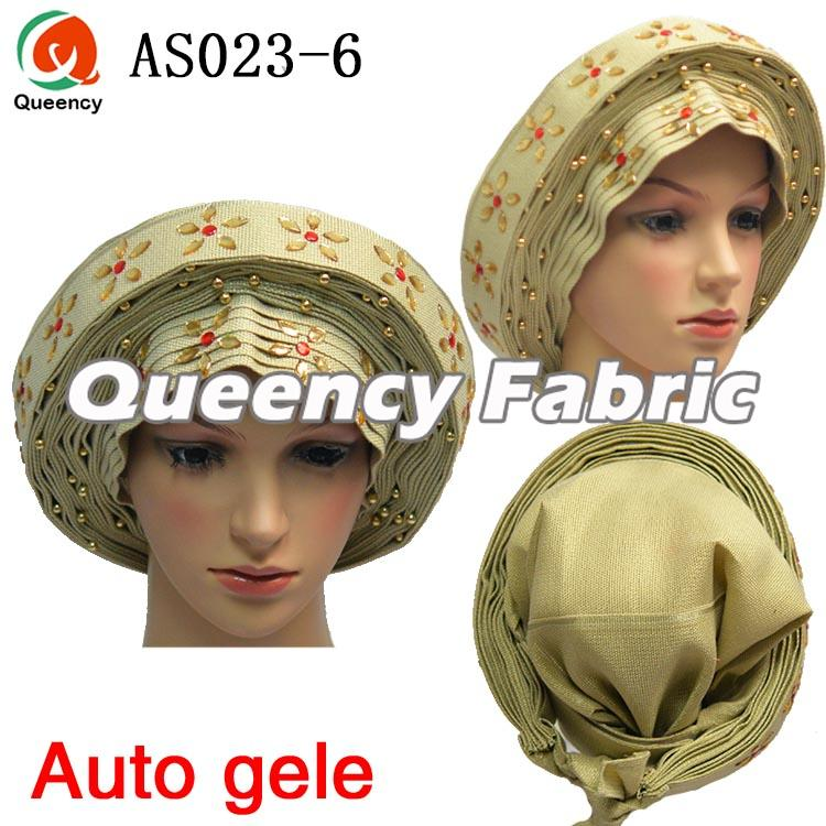 Auto gele headtie in Beige
