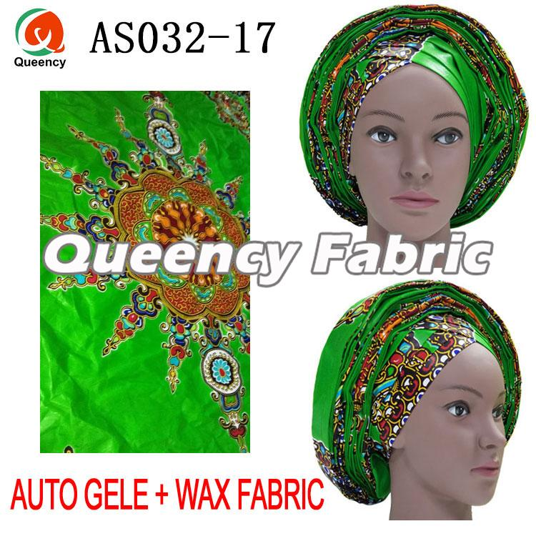 African Auto Gele Wax Fabric Set