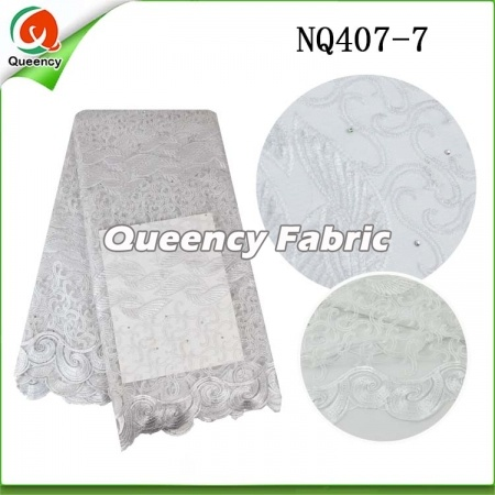 African Netting Lace Beaded Fabric for dress