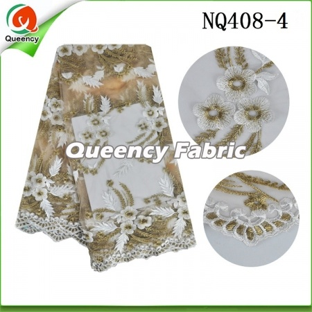 Flower Embroidered Netting Fabric African Lace