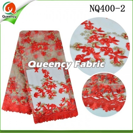Tulle Lace  Soft Cotton Beaded​ Fabric