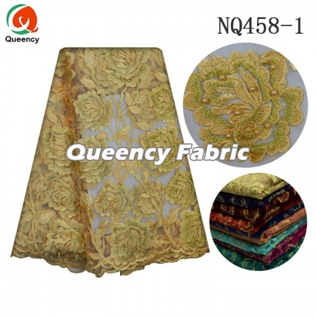 Nigeria Soft Netting Lace Beaded Embroidery