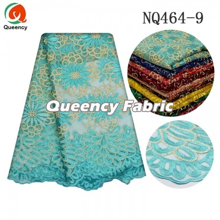 Nigeria Tulle Beaded Lace Cotton Dresses Material