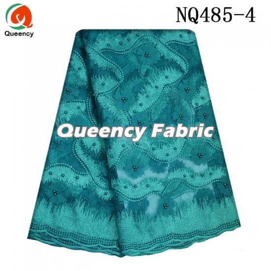 Nigeria Cotton French Beade Fabric Applique Lace Embroidery