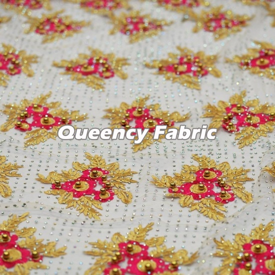 Heavy Lace Beaded Embroidered French Fabric