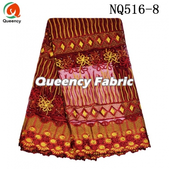 Cotton Netting Embroidered Mesh Fabric