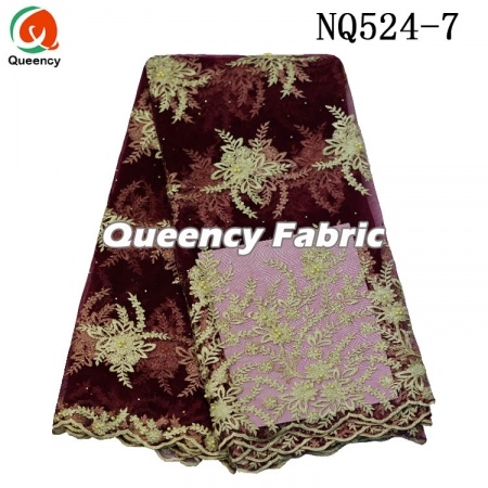 Wholesale French Beaded Embroidered Lace Fabric
