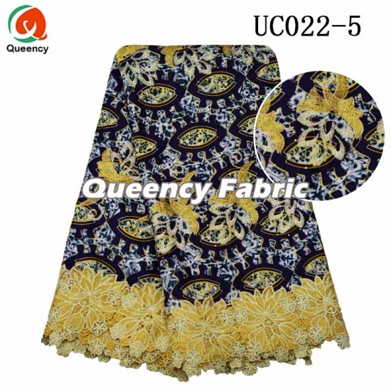 Aso Ebi Queency Wax Style African Ankara Lace Printing Embroidered Fabric Las Wedding Dresses