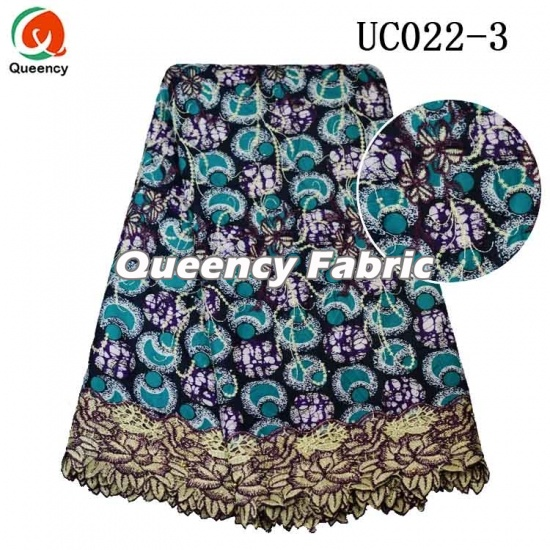 African Wax Printed Lace Embroidered Fabric