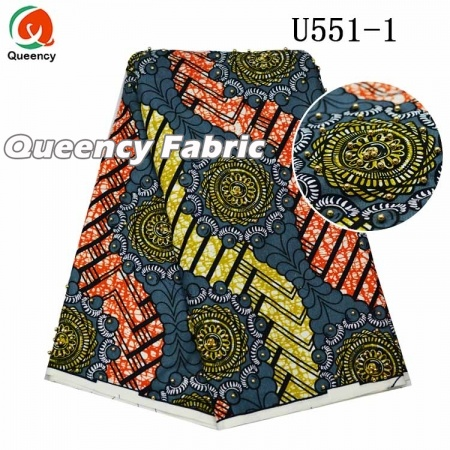 African  Ankara Beaded Wax Fabric