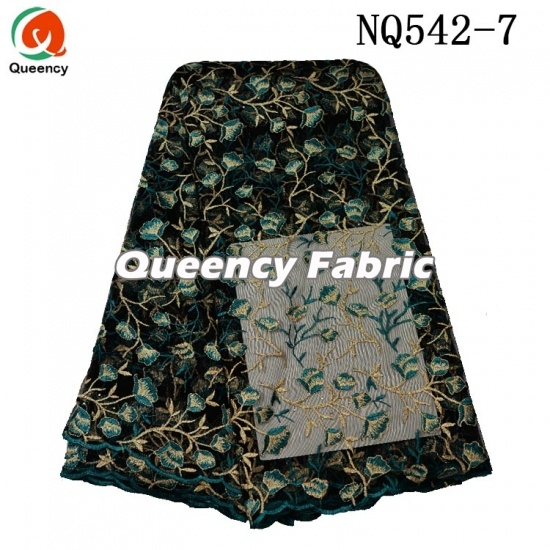 African Fashion Ladies Net Embroidered Fabric