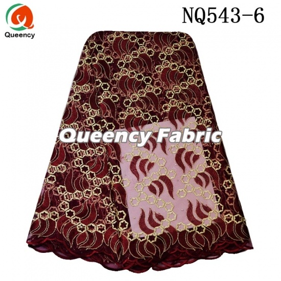 Unique Nigeria Lace Ladies Cotton Tulle Beaded Fabric