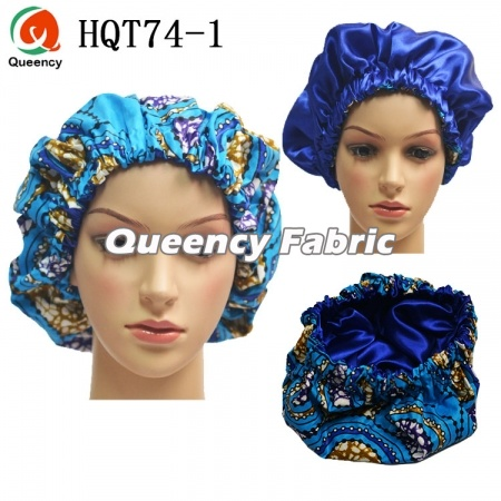 Queency African Print Satin Lined Hair Bonnet Sleep Caps HQT74 1cfdd6fabc8