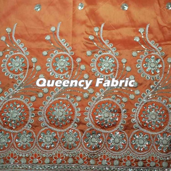 Traditional African George Heavy Sequins Embroidered Fabric