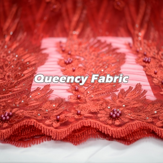 African Tulle Lace Beads Fabric