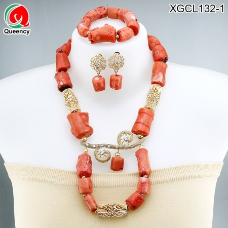 Coral beads Jewelry Set