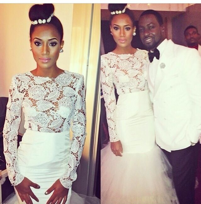 African Guipure Lace Wedding Dress